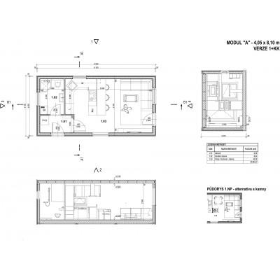 Case modulare 1-camera - vedere în plan